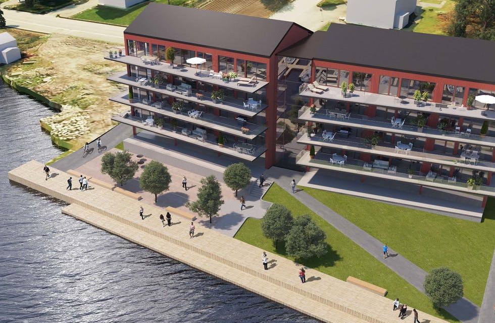 Konsept 1 med to blokker i fem etasjar og med 40 leilegheiter på tvers mot sjøen.  Teikning: Arcasa Arkitekter