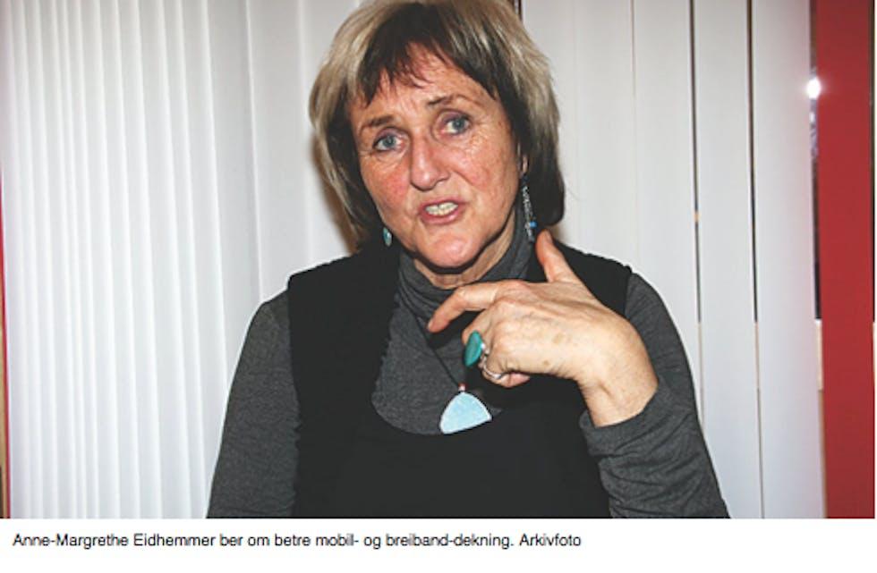 Anne-Magrethe Eidhammer er sterkt engasjert for å få betre mobildekning i Fikse-/Opheim-området i Ølen.