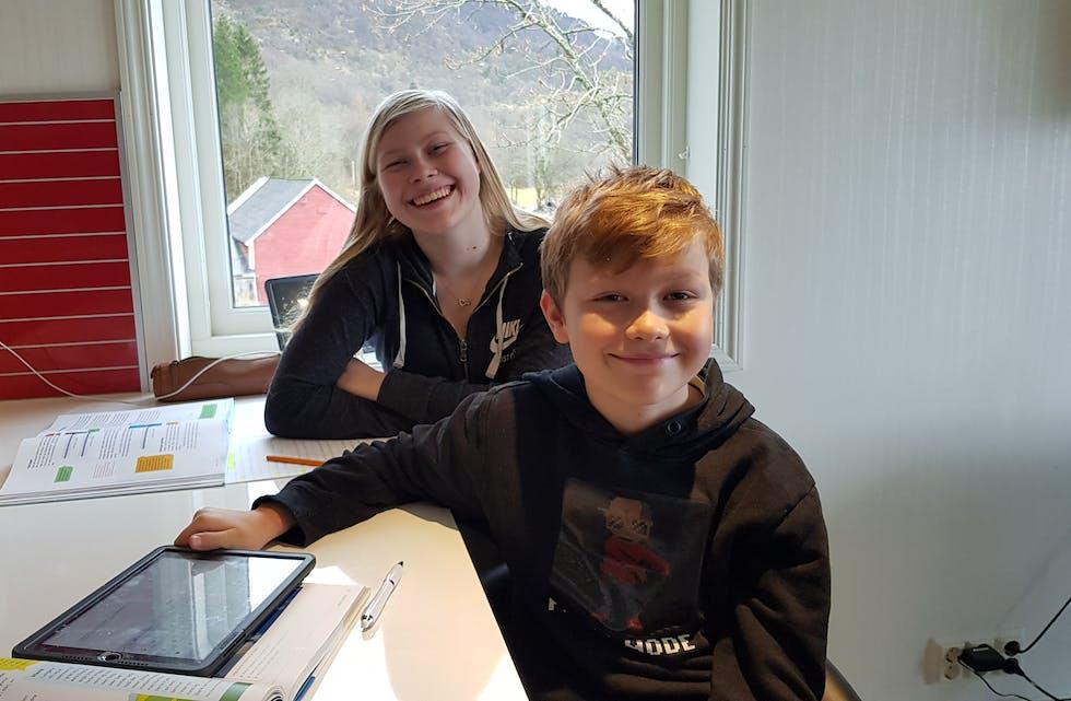Sina Marie (15) og Tage Johannes (10) Eljervik frå Skånevik synest det går greitt å ha heimeundervisning. Foto: Privat