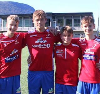 Desse fire sørga for skoringane for Ølen G16 mot Bryne. Fra venstre: Vemund Skjæveland, Tobias Kristiansen, Idar Golf og Nikolai Haraldseid.  FOTO: MAGNE SKÅLNES