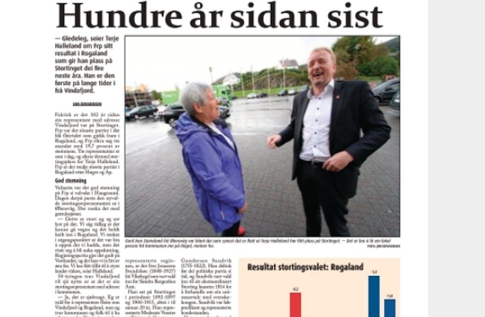 Historisk val for Frp i i VIndafjord for fire år sidan. Faksimile Grannar 14. september 2017