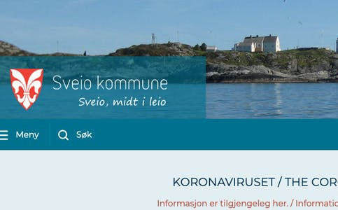 Skjermdump: Sveio kommune si heimeside