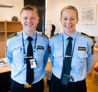 Fredrik Alvestad og Kari Rørtveit har no starta opp i stillingane som høvesvis stasjonssjef og seksjonsleiar ved Etne og Vindafjord politistasjon. FOTO: TORSTEIN TYSVÆR NYMOEN
