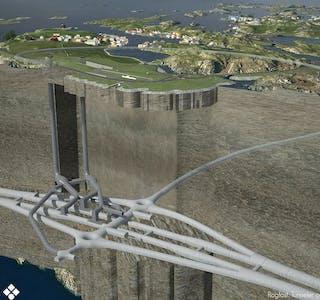 Kvitsøykrysset med tunnel opp til Kvitsøy og ventilasjonssystemet. Illustrasjon: Statens vegvesen / Norconsult