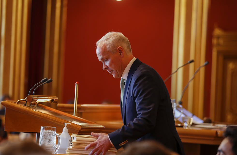 Finansminister Jan Tore Sanner (H) i Stortinget tysdag. Foto: Javad Parsa / NTB / NPK